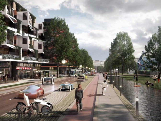 A future boulevard in Helsinki. Picture courtesy of 3D Render Oy.
