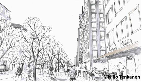 A visualization from the street Mannerheimintie that runs past the project site.