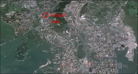 The project are is located at the northern edge of the inner city in Western Helsinki. Map courtesy of Google.