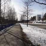 Wide traffic zones and open spaces in Kannelmäki.