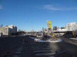 A view towards the Metro station in Rastila. Ironically, there is a gas station right next to the station.