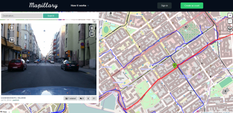 Kuvakaappaus Mapillary-palvelusta jonka tavoitteena on kerätä kuvamateriaalia maailmasta. Vähän kuin Googlen Street View, mutta kuva-aineiston tuottavat käyttäjät. Kuvalähde: Mapillary.
