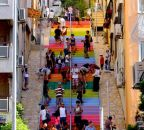 "A couple of years ago a retired man decided he wanted to ""make people smile"" and among other public walkways, painted these stairs in Findikli with rainbow colors. Photo courtesy of greenprophet.com."