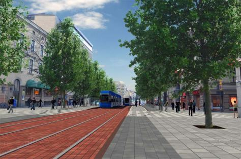 A visalization of how Hömeenkatu could transform once the tramway gets built. Image courtesy of the City of Tampere.