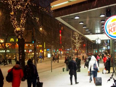 Tampere's main street Hämeenkatu and a winter-y atmosphere. Doesn't look so dead, does it? Photo credit: Erkki Ottela.