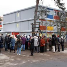 """Berlin has already implemented the """"container village"""" approach for immediate refugee housing. Photo source: bglbb.blogsport.de."""