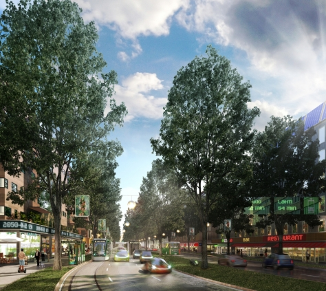 A vision for a new boulevard. Image by: 3D Render / Helsingin kaupunkisuunnitteluvirasto.