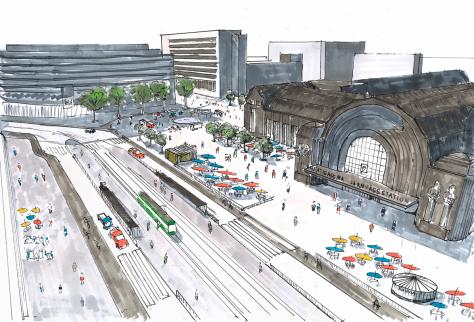 The Urban Helsinki vision for a walkable Helsinki station area. Image by Niilo Tenkanen.