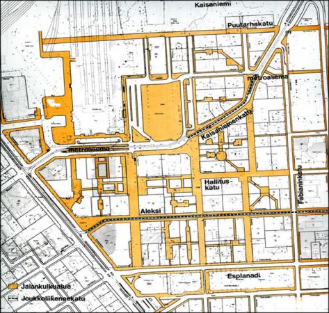 Kävelykeskusta, periaatesuunnitelma 1989. Image: the City of Helsinki