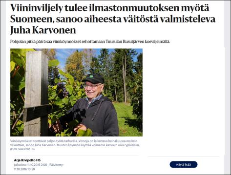 Growing wine near Helsinki